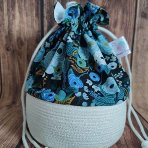 Panier projet tricot - Garden party Blue- Taille M - Maloraé Designs