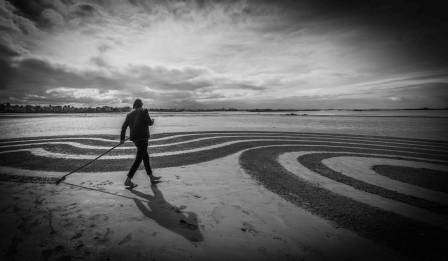 Art de la plage Saint Malo La plage du sillon Le mercredi 20 mars 2019 Mer Bretagne Artiste Dessin sur la plage