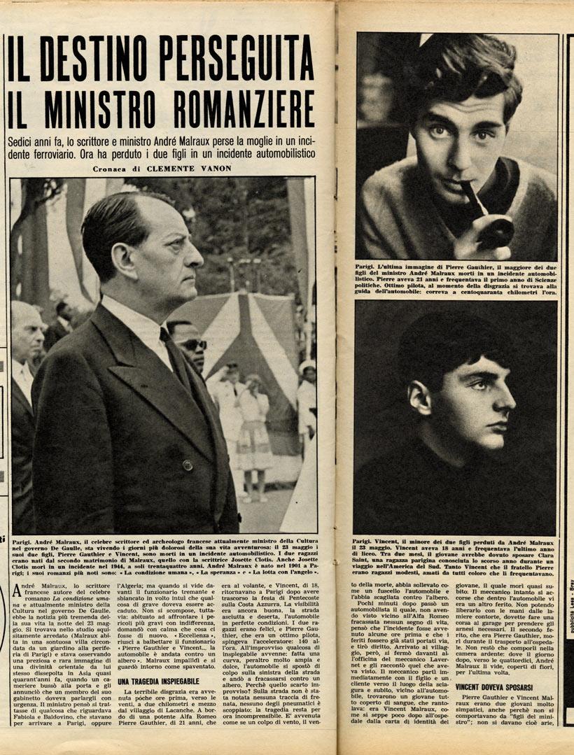 André Malraux Pierre-gauthier Malraux : andré, malraux, pierre-gauthier, Malheurs, Malraux., Destino, Perseguita, Ministro, Romanziere»,, «Gente»,, 1961,, 48-50., Malraux.org