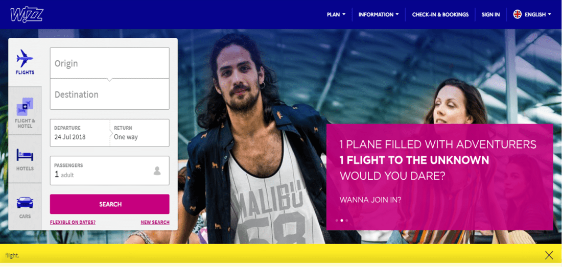WizzAirのトップ画面