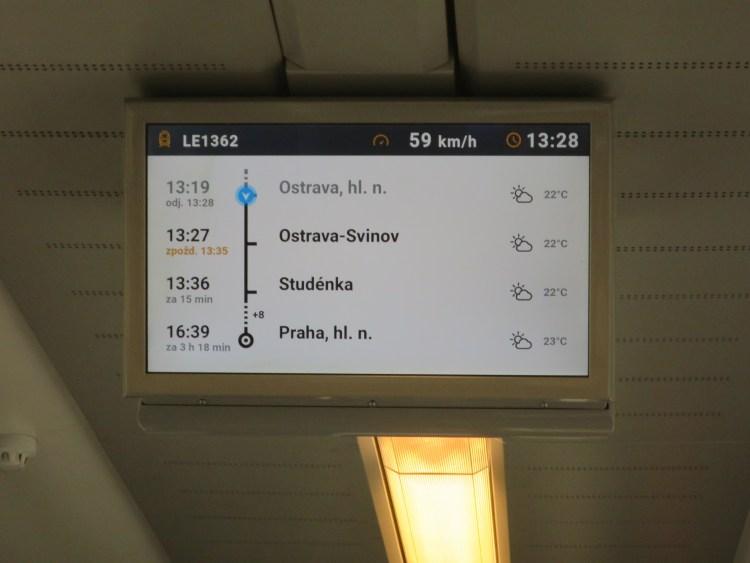 LEOEXPRESSの列車内のモニター