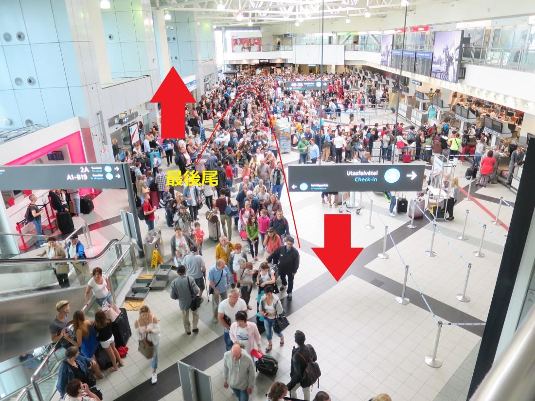 ブダペスト空港内の混雑状況