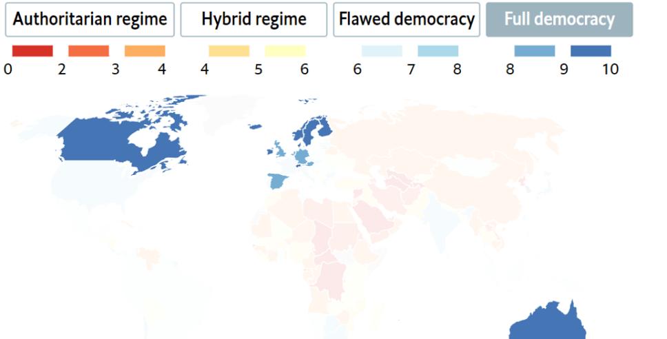 完全な民主主義の世界地図