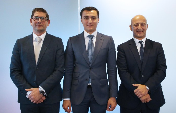From left: FinanceMalta Chairman Rudolph Psaila; Parliamentary Secretary responsible for Financial Services, Digital Economy and Innovation Silvio Schembri; and Outgoing Chairman Kenneth Farrugia.