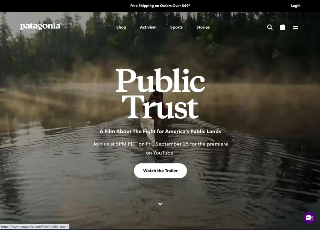 Patagonia Website Homepage