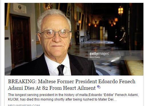 HOAX: Maltese Former President Edoardo Fenech Adami Dies at 82 From Heart Ailment (No it's NOT true)