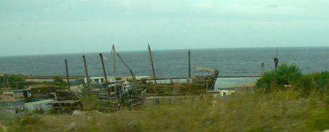 Hajó a Mediterranean Film Studios kisebbik medencéjében