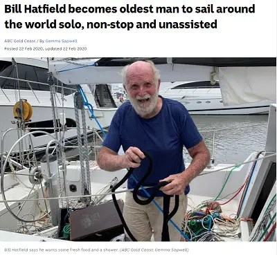 Bill Hatfield becomes oldest man to sail around the world solo, non-stop and unassisted