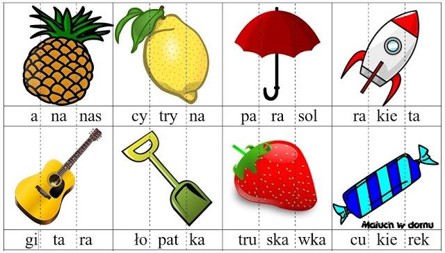 Ilustracje z sylabami do pobrania