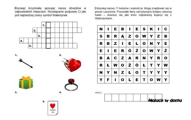 Walentynkowe kart pracy: krzyżówka i wykreślanka