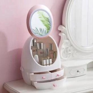 Caixa de armazenamento de maquiagem de espelho de LED HD Caso de organizador cosmético