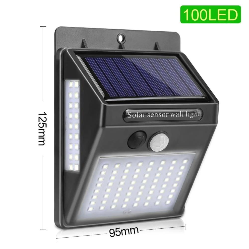 Refletor de LED Poderoso Movido a Energia Solar com 100 LEDs a Prova d'água e Sensor de Presença
