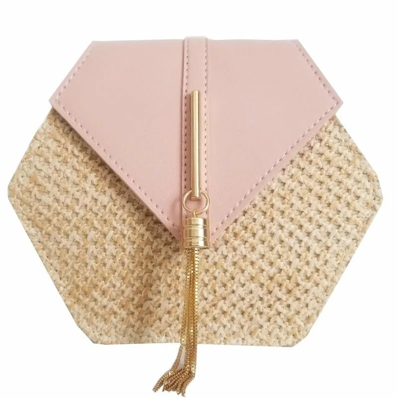 Bolsa Feminina Hexagon de Palha