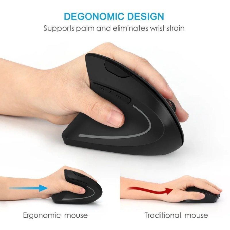 Mouse Vertical Ergonômico Sem Fio