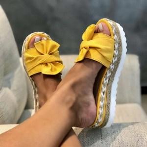 Sandália Anabela de Laço Feminina Moda Verão