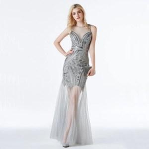 Vestido Longo de Tela - Prata