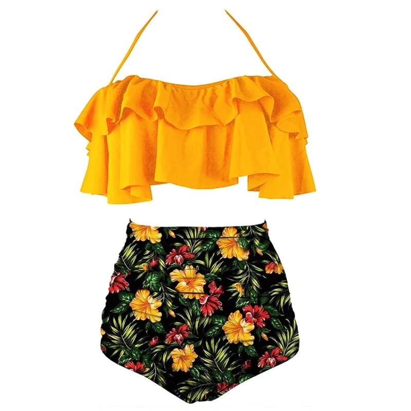 Biquíni Maiô Cintura Alta Floral
