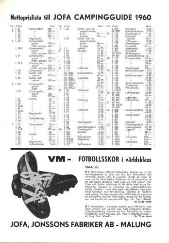 JOFA Oskar Camping Prislista 1960 0680