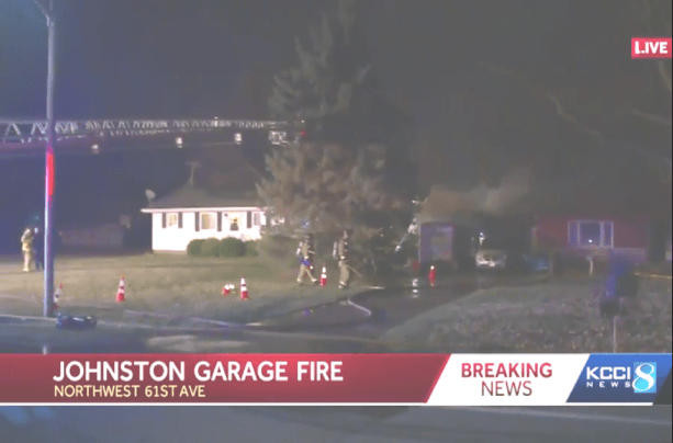 Overview of NW 61st fire scene [photo: excerpt of video, CBS KCCI-TV Channel 8]