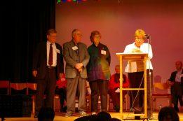 Dr. Vandra Masemann presenting to Arnie Williamson, David Fuller and Fran Perkins