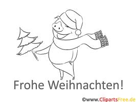 Schwein Schal Ausmalbilder zu Weihnachten