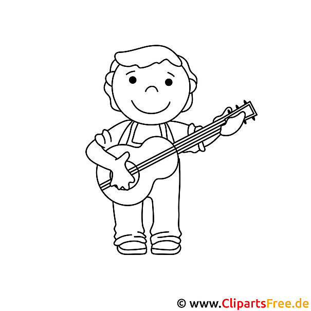 Gitarre spielen Bild zum Ausmalen Malvorlage