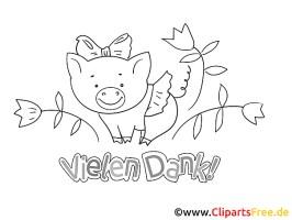 Blume Schweinchen Dankeskarten drucken und ausmalen