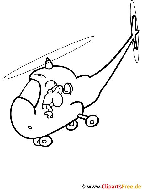 Hubschrauber Ausmalbild gratis