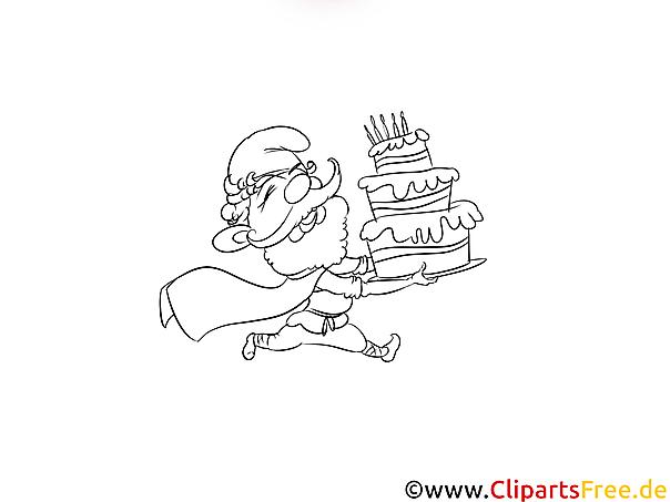 Torte Geburtstag Bild schwarz-weiss zum Ausmalen Drucken