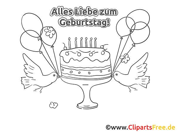 Vogel Kuchen Malvorlage zum Geburtstag
