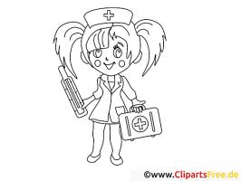 Krankenschwester mit Thermometer Malvorlagen