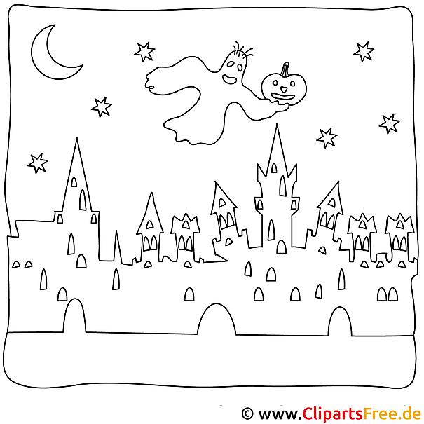 Halloween Ausmalbild mit Gespenst