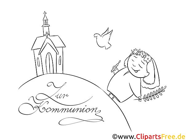 Erstkommunion Malvorlage Kirche Mädchen