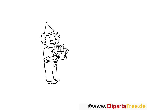Junge mit Geburtstagstorte Malvorlagen und kostenlose