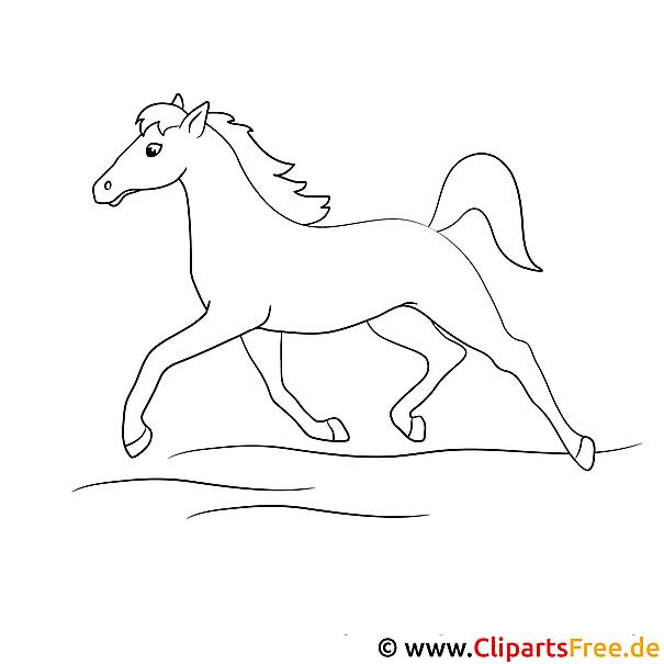 Kostenlose Malvorlage laufendes Pferd