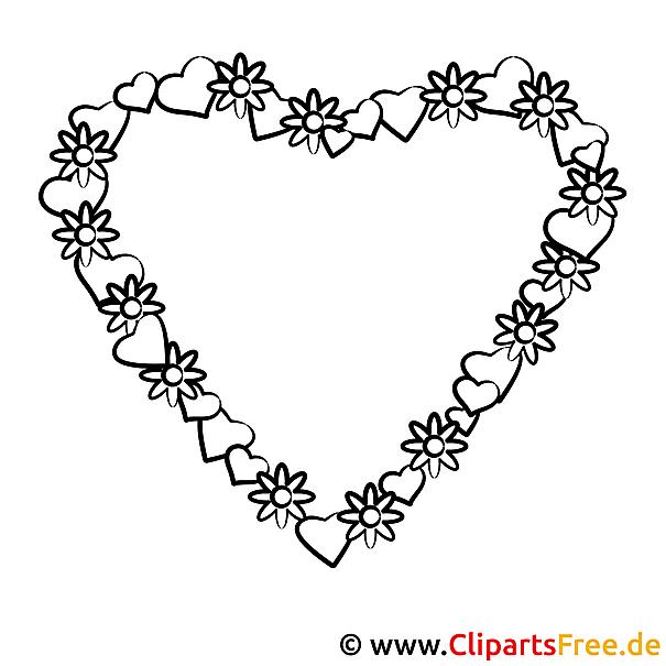 Ausmalbild zum Valentinstag Herz