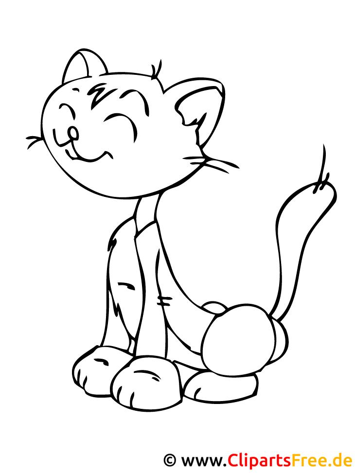 Katze Bild zum Malen - Frühling Malvorlage