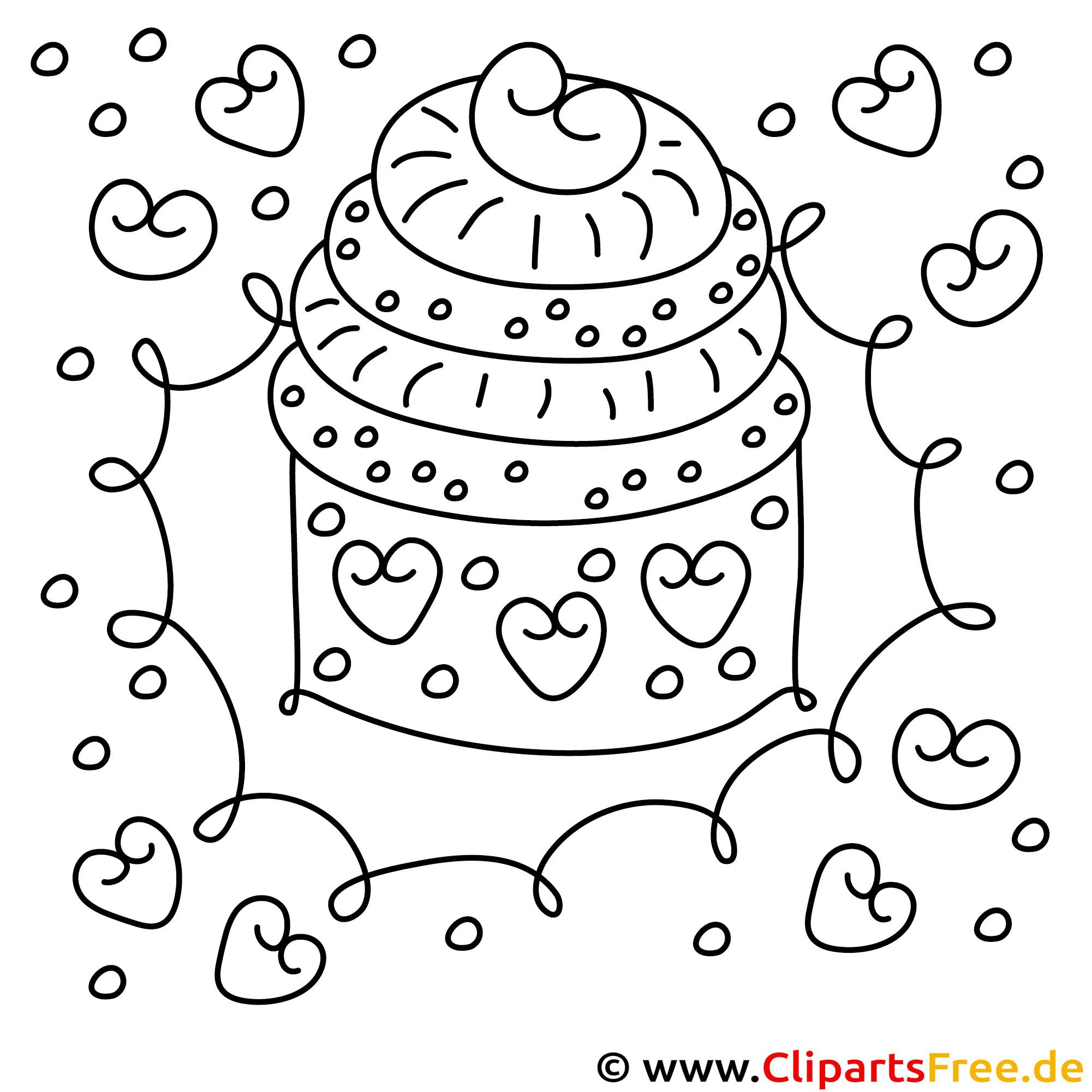 Kuchen zum Geburtstag Bild zum Ausmalen Malvorlage