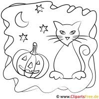 Halloween Bild zum Ausmalen Katze und Pumpkin