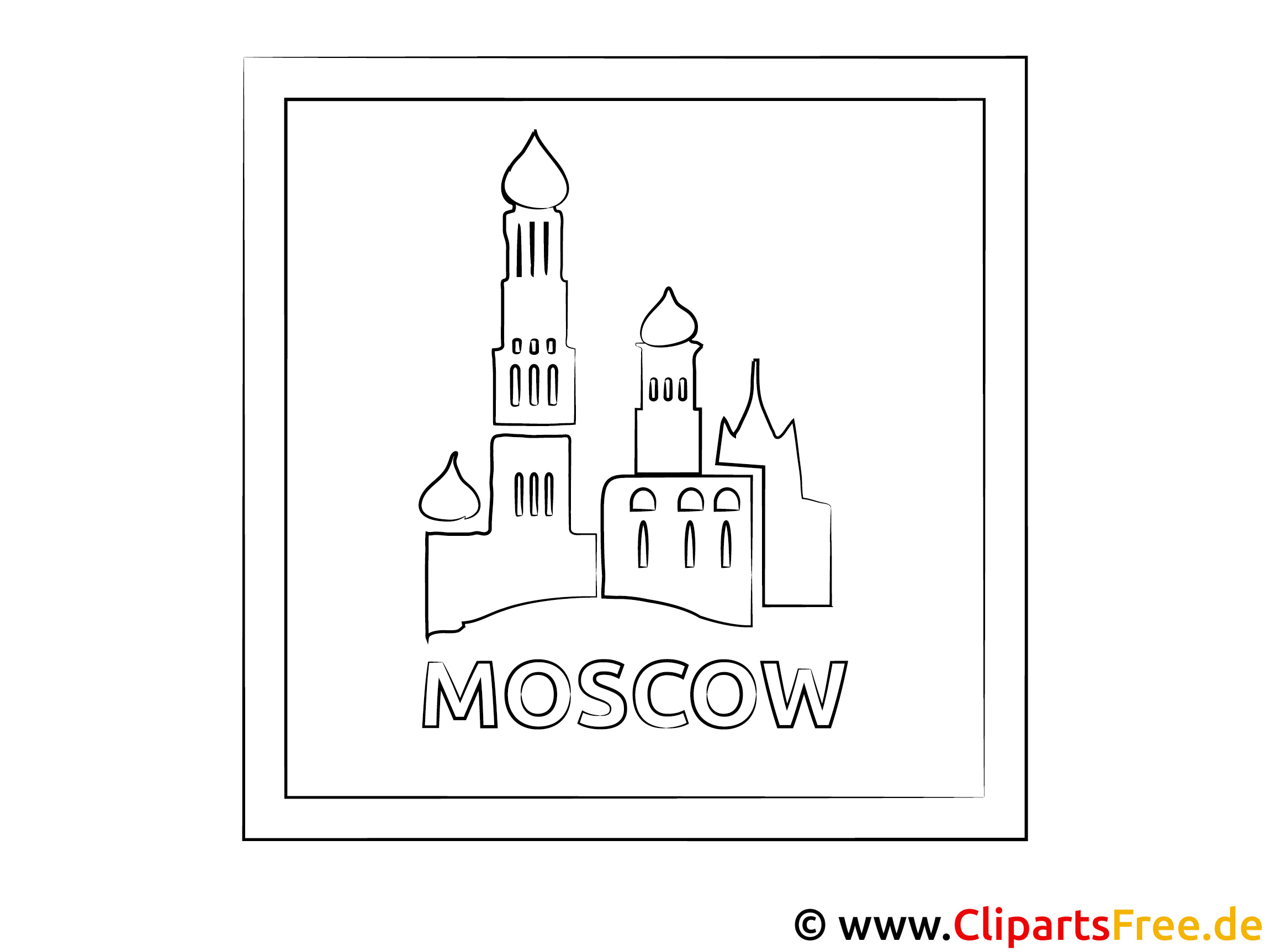 Moskau Reisen Ausmalbild für Unterricht