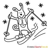 Ski Malvorlage zu Olympischen Winterspielen