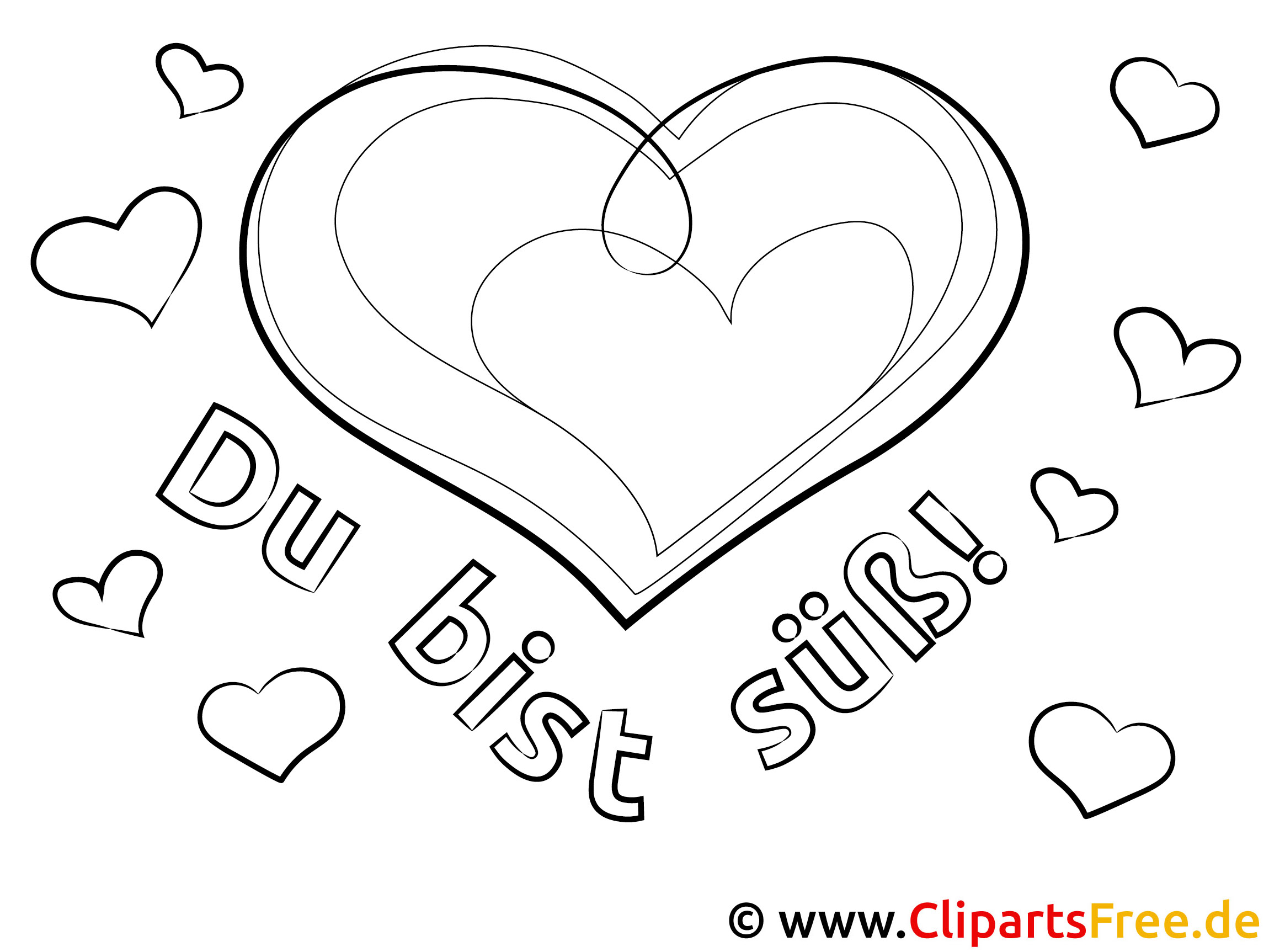 Herz Bild-Malvorlage zum Ausmalen