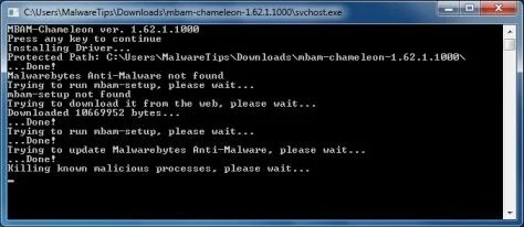 Malwarebytes Chameleon killing malware