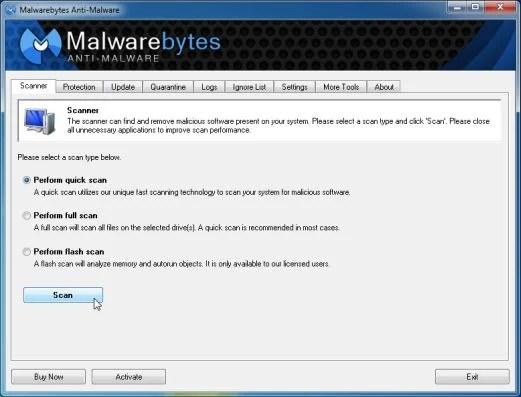 [Image: Malwarebytes Anti-Malware Quick Scan]