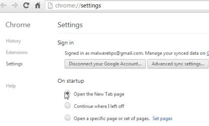 [Image: Change Google Chrome homepage to its default]