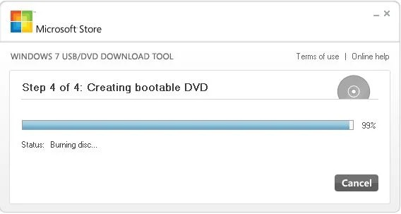 [Image: Windows 7 USB Download tool creating a bootable Windows 7 ISO]