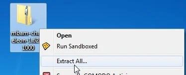 [Image: Extract Malwarebytes Chameleon utility]