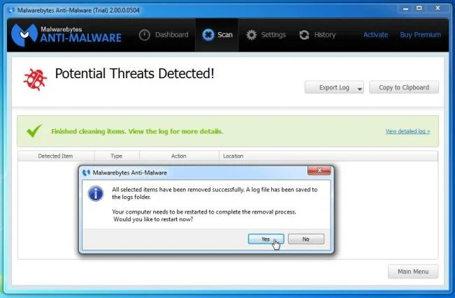 [Image: Malwarebytes Anti-Malware removing Fun2Save]