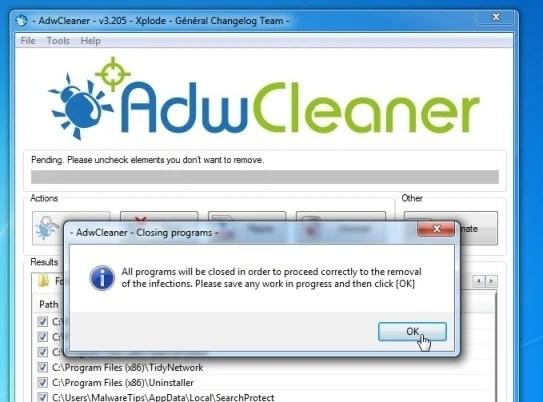 AdwCleaner removing malware