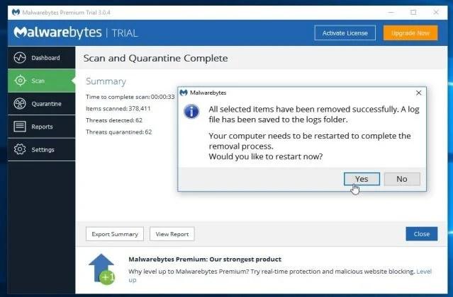 Malwarebytes Anti-Malware asking to restart PC